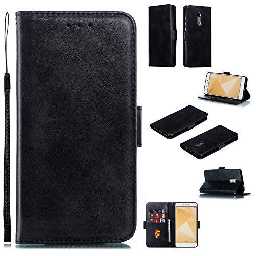 Lomogo Xiaomi Redmi Note 4/Note 4X Hülle Leder, Schutzhülle Brieftasche mit Kartenfach Klappbar Magnetisch Stoßfest Handyhülle Case für Xiaomi Redmi Note4/Note4X - LOYTE010696 Schwarz