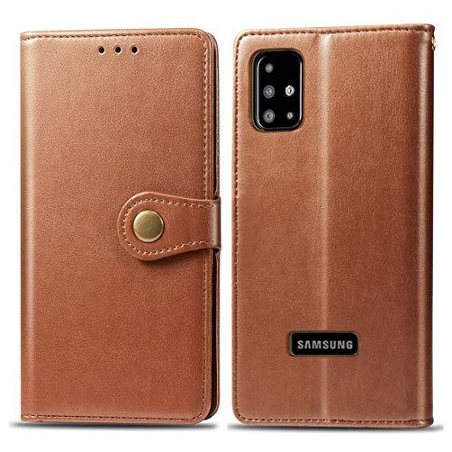 Wdckxy HNZZ - Funda de piel para Galaxy A51, diseño retro con hebilla de color sólido, funda de piel con marco para fotos, ranura para tarjetas, función de cartera y soporte (color: marrón)