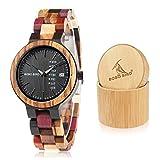 BOBO BIRD Women Wood Watches Colorful Wood WristWatches Week & Date Display Multifunction Handmade Quartz Watch Sport Chronograph Unique Wristwatch
