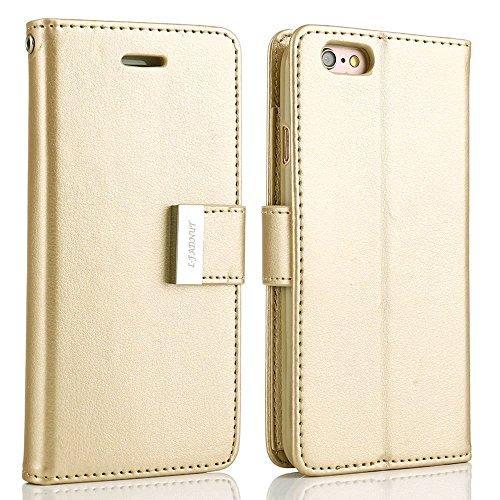Funda con tapa para iPhone 6 Plus y 6S Plus (5 ranuras para tarjetas), piel sintética, dorado, iPhone 6 Plus/6S Plus