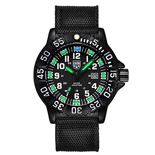 Wan&ya Reloj analógico de Cuarzo para Hombre Correa de Nailon 50M Cronómetro Luminoso Resistente al Agua Brújula Dial Giratorio Reloj de Negocios Relojes Deportivos Militares Digitales,Black a