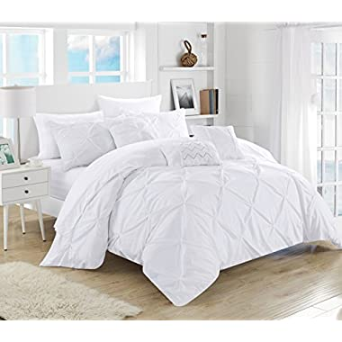 Chic Home 10 Piece Hannah Pinch Pleated, ruffled and pleated complete Queen Bed In a Bag Comforter Set White With sheet set