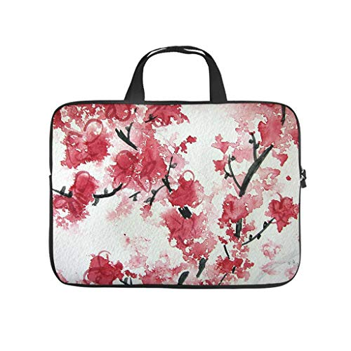Japonés flor de cerezo rojo bolso del ordenador portátil diseño bolso impermeable personalizado portátil bolso con asa portátil para mujeres hombres blanco 13 pulgadas