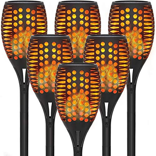 6 Pack Solar Torch Lights with Flickering Flames, Outdoor Solar Garden Lights for Halloween Decors, Landscape Lighting Solar Powered Waterproof for Pathway, Yard, Patio, Lawn, Porch, Christmas