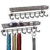 mDesign Juego de 2 perchas para pañuelos con estantes para pared – Balda con 8 colgadores para cinturones o corbatas – Repisa con percha organizadora para carteras, llaves, etc. – color bronce