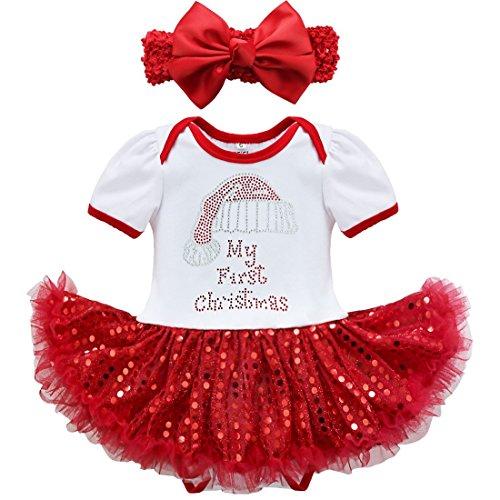 YiZYiF Bébé Fille Vêtement de 1er Anniversaire Noël Barboteuse de Baptême Tutu Robe à Paillettes Body Combinaison à Manche Courte et Bandeau Déguisement Fête 3-18 Mois Blanc & Rouge 3 Mois