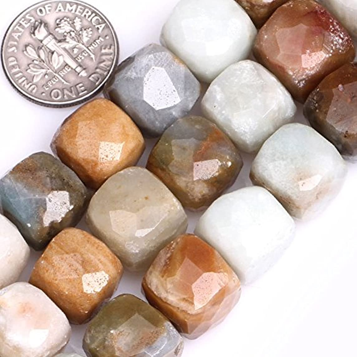GEM-inside Natural 12mm Mix Color Faceted Cube Amazonite Stone Beads for Jewelry Making Strand 15
