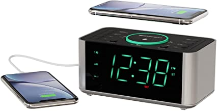 Emerson Alarm Clock Radio and QI Wireless Phone Charger with Bluetooth, Compatible with iPhone XS Max/XR/XS/X/8/Plus, 10W ...