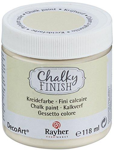Rayher 38867105 Chalky Finish auf Wasser-Basis, Kreide-Farbe für Shabby-Chic-, Vintage- und Landhaus-Stil-Looks, 118 ml, alabaster-weiß