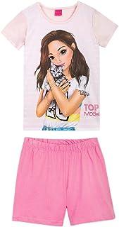 Top Model Niña Ropa de Dormir, Pijama: T-Shirt, Camiseta y Short, Rosa