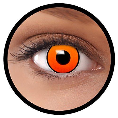 Farbige Kontaktlinsen orange Krähe + Behälter, weich, ohne Stärke in orange als 2er Pack (1 Paar)- angenehm zu tragen und perfekt für Halloween, Karneval, Fasching oder Fastnacht Kostüm