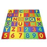 INTEY Tappeto Puzzle Bambini - 30.5 x 30.5 cm - 36 Pezzi Tappetini per Neonati, Schiuma Eva Atossica, Lettere Numeri Rimovibili Tappeto Gioco Puzzle