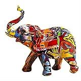 LISAQ Creative coloré Graffiti éléphant Sculpture Animal Statue Ornement créatif rétro Figurine décoration de la Maison Accessoires