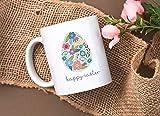 Taza de café de Pascua feliz con bonito huevo de Pascua floral de 11 oz - Taza de Pascua feliz - Taza de Pascua - Decoración de Pascua - Regalos de Pascua - Decoración de Pascua feliz