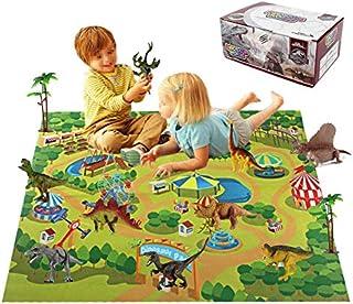 ألعاب ديناصور للأطفال 12 قطعة مع خريطة أمنة للغاية لعالم الجوراسي الصغيرة مكعبات بناء ديناصورات للأولاد والبنات هدية من بر...
