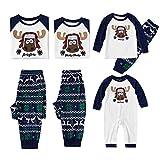 Conjunto de Pijama de Navidad para Niños y Adultos Ropa de dormir Santa Ciervo Muñeco de Nieve Ropa de Dormir
