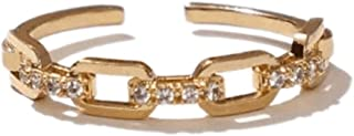 BeFab Golden Open Ring for Women Adjustable Dainty CZ Cuff Stacking Ring Link Chain Buckle Shape