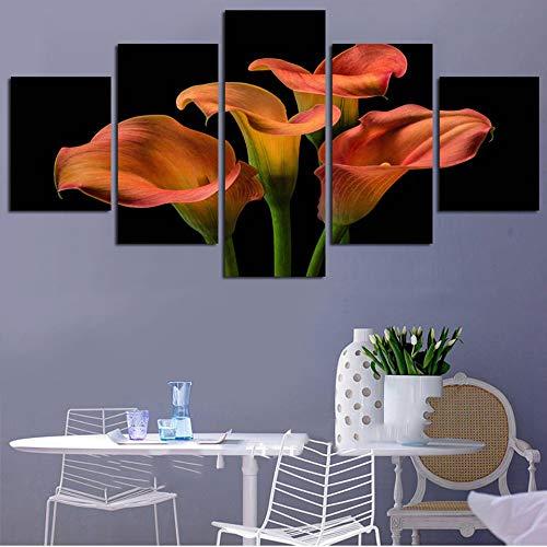 5 Panel Lienzo Flor de Naranja 150x80cm Impreso Wall Art HD Picture Modular Pared Moderna Impresa Pintura HD Al Óleo Mural Decor Creatividad Salón Dormitorio Oficina Cuarto Poster