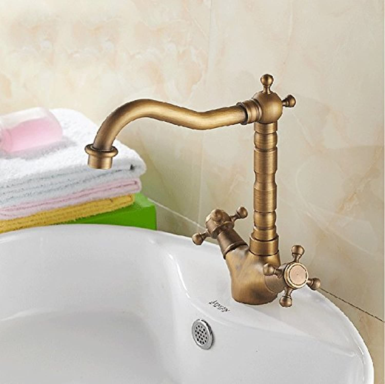 Caribou@Waschtischarmatur Wasserhahn Spültisch Küche Waschtisch Waschenbecken Bad Europischen Antike Kupfer heien und kalten Einloch-Waschtischmischer
