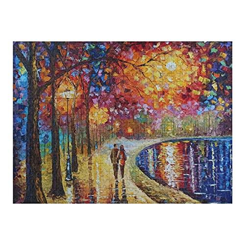 Houten puzzel 500 STKS voor volwassenen en kinderen, abstracte geesten door het meer landschap olieverfschilderij…
