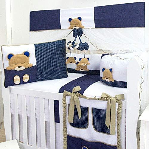 Kit Berço Americano Menino Dorminhoco Azul Marinho 9 Peças