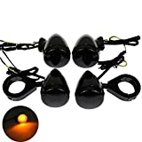 4Pcs Front Rear Motorcycle LED Turn Signals Light 41mm Fork Clamp Indicator Blinker for Harley Sportster Dyna Bobber Honda Yamaha Suzuki Kawasaki, All Black
