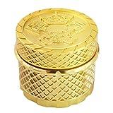 LIHAO Grinder Pollen Crusher - Juego de 4 molinillos de hierbas con raspador de polen para especias, especias, café (55 x 44 mm), color dorado