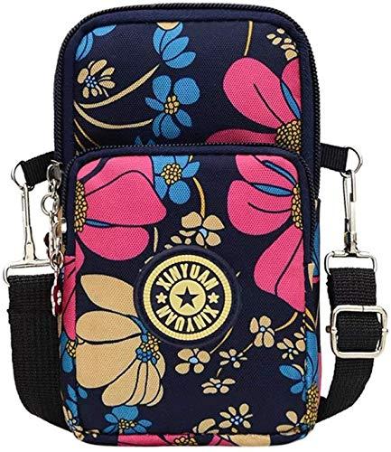 ALLWAYSFORYOU Mini sac à bandoulière multifonction, étanche, 3 couches, pochette pour téléphone portable, sac à main, cadeau pour adolescente, pour smartphone, maquillage, argent, clés, cartes
