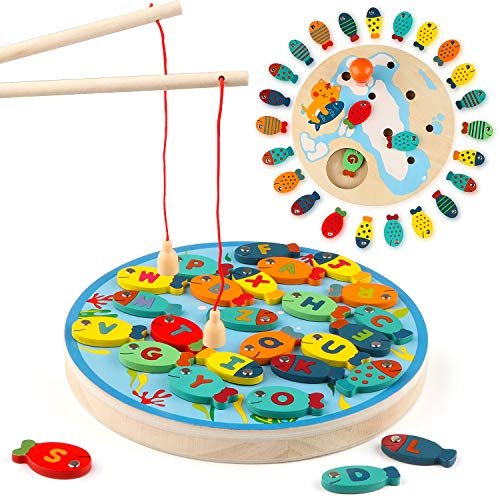 Steventoys Wooden Fishing Game,Pretend Play Magnetic Alphabet Fish Toys for Toddlers,Learning...