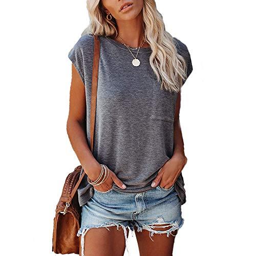Yutila Damen Sommer T-Shirt Loose Einfarbig Oberteil mit Tasche