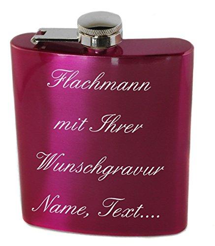 Flachmann'Pink' Edelstahl 200ml mit Wunschgravur, Wunschtext, Grafik oder Logo