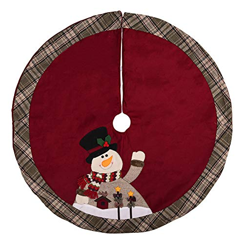 Milopon Weihnachtsbaumdecke Weihnachtsbaum Decke Baumdecke Weihnachts Dekorationen Weihnachtsbaum Abdeckung Runde Christbaumdecke 105cm (Weinrot)