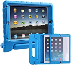 HDE Case for iPad Air 2 - Kids Shockproof Bumper Hard Cover Handle Stand with Built in Screen Protector for Apple iPad Air 2 - 2014 Release 2nd Generation (Blue)