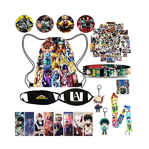 My Hero Academia Merch Set for Anime Fans 1 Mha Backpack 2 Face Mask 50 Mha Stickers 4 Button Pins 1 Wristband 8 Bookmark 1 Lanyard 2 Keychain 1 Phone Ring
