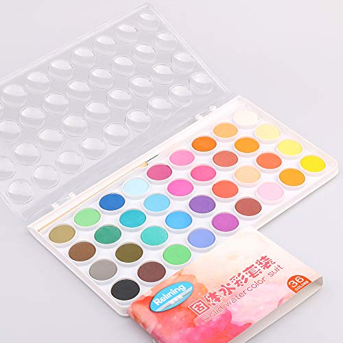 NNTTY Watercolor Paint Set,Non-Toxic and Rich Pigment 36 Watersoluable Cake Set,Includes a Watercolor Brush,with Plastic Palette Lid Case