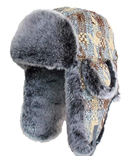 Icegrey Icegrey Wintermütze mit Ohrenklappen Trappermütze Bomber Hut Unisex Fliegermütze Fellmütze Erwachsenen für Herren M(56-58cm)