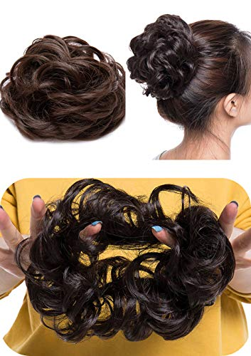 BEAUTRISTRO Set Of 2pcs Synthetic Hair Bun Extension And Wigs Artificial Juda For Women And Girls, 35 Gram, Natural Brown