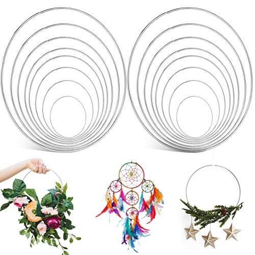 Eyscoco Anillos de metal, 16 unidades, 8 tamaños, accesorios de macramé, anillos de metal, para manualidades, para atar coronas, atrapasueños, corona de boda, macramé, tapiz, artesanía
