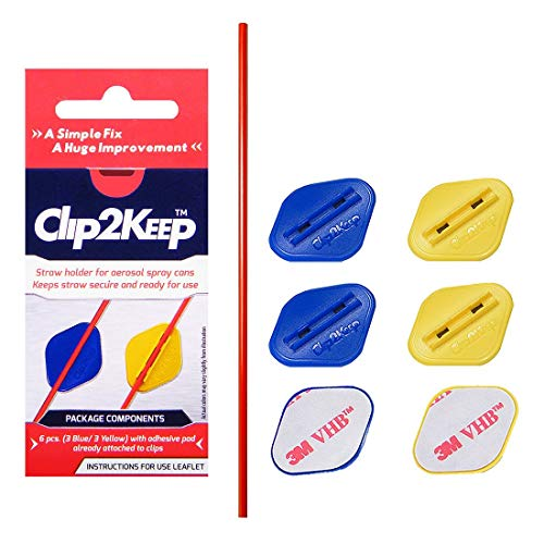 Clip2Keep 6 Pack Spray Can Straw Holders with 1 Extra Straw - Spray Nozzle Straw Clip with Self-Adhesive Pad (3 Blue/3 Yellow) for Corrosion Inhibitor, Silicone Spray, Lock and Bike Chain Lubricant