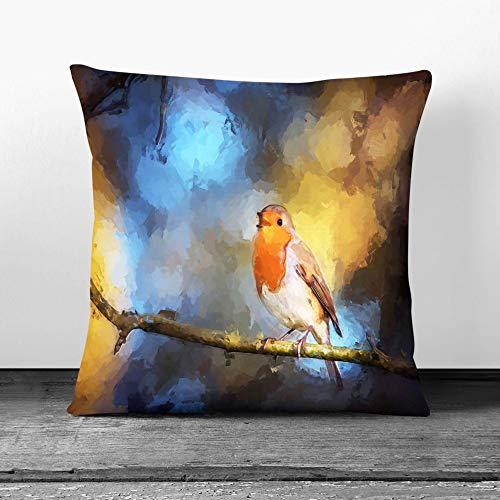 Faux Suede Cushion & Cover - Robin Bird in a Tree in Abstract - Single Square Throw Pillow - Stone Rear - 45 x 45 cm