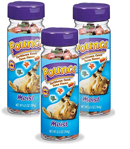 Pounce Cat Treats, 6.5 Ounces Each, Moist Caribbean Catch Tuna Flavor, 3 Pack