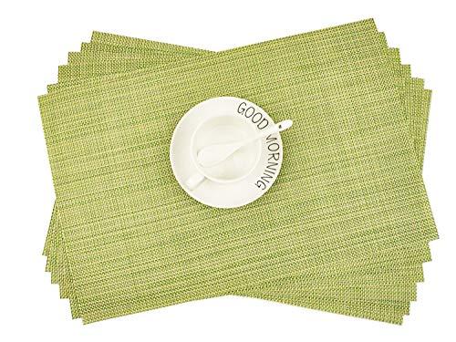Addfun®Tischsets, Neu PVC Isolierung rutschfest Isolierung Waschbar Platzdeckchen(Grün, 6er Set)