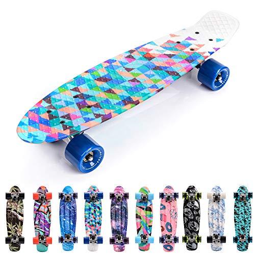 meteor Monopatín Retro plástico Skateboard Completo Patineta para Niños Jóvenes Adultos Mejor Calidad Robusto Ligero Ruedas - Buen Regalo (Geometric)