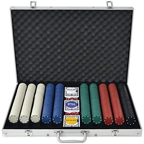 Wakects Juego de póquer de póquer con 1000 chips fichas, maletín de aluminio, 3 barajas de cartas