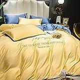 juego de ropa de cama 160x200,Sumo Tianshi Set de cuatro piezas, lavado de agua europeo Seda Extra Rey Diuvet Conjunto de soltero cama doble cama Bordado de cama, Dormitorio Regalo de la habitación p