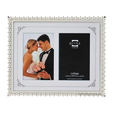 PRINZ 2 Opening Elegance Silver Plated Metal Frame with Enamel Inlay and Jewels, 4 by 6-Inch