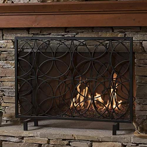 UWY Fireplace Screen Large Flat Guard Fireplace Screen, Heavy Duty Black Metal Mesh with Geometric Design, Freestanding Spark Guard for Indoor and Outdoor, Height-68cm/26.7 Inch