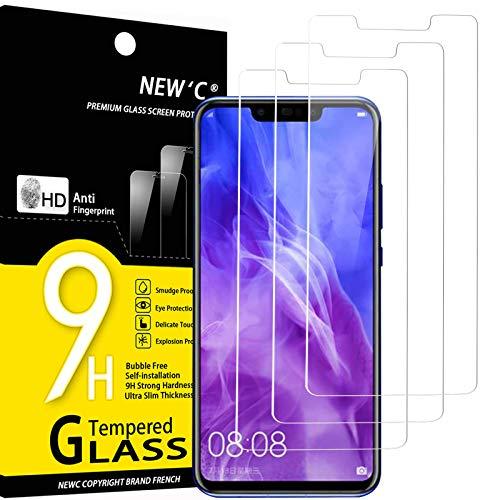 NEW'C 3 Stück, Schutzfolie Panzerglas für Huawei Nova 3, Nova 3i, Frei von Kratzern, 9H Festigkeit, HD Bildschirmschutzfolie, 0.33mm Ultra-klar, Ultrawiderstandsfähig