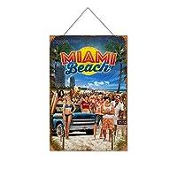 マイアミビーチ(2)木製のリストプラーク木の看板ぶら下げ木製絵画パーソナライズされた広告ヴィンテージウォールサイン装飾ポスターアートサイン