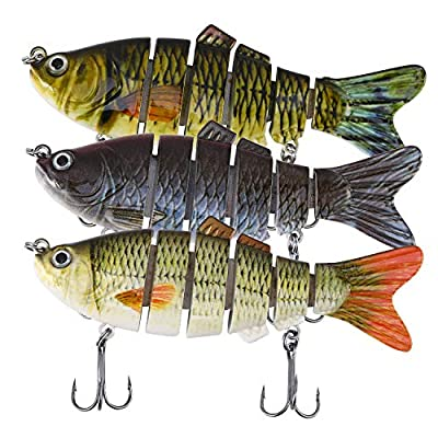 Magreel Fishing Lures Bass Lures Multi Jointed Artificial Bait Segment Swimbaits Lures Slow Sinking Lure Fishing Kit for Bass Trout Pike Perch Pack of 1